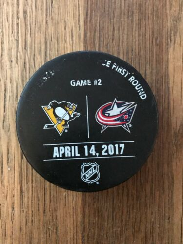 Pittsburgh Penguins Blue Jackets Game Used Playoff Warm Up Puck 2017 2 C