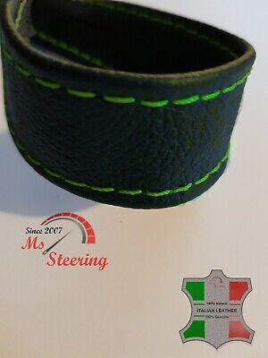 SEAT STRAP FOR MOTORCYCLE BEST QUALITY BLACK ITALIAN LEATHER GREEN (Best Leather For Motorcycle Seat)
