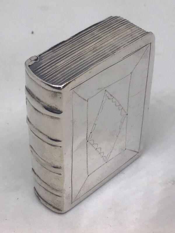 c1760-90 Georgian Solid Silver Novelty Book Form Snuff Box