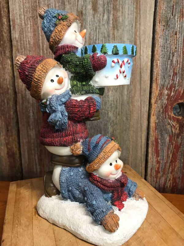 snowman 3 stacked candle holder christmas 2003 home interiors.................x1