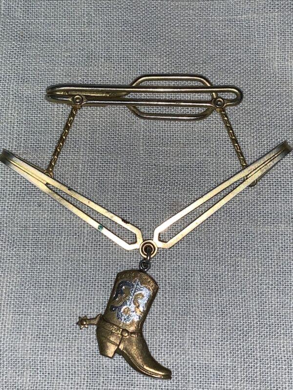 ORIGINAL VINTAGE COWBOY BOOT / SPUR  TIE CLASP / HANGER
