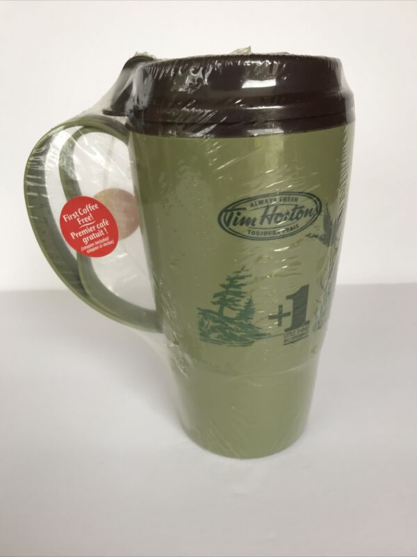 Tim Hortons Green Travel Mug BPA Free Plastic Canadian Geese Design Sealed