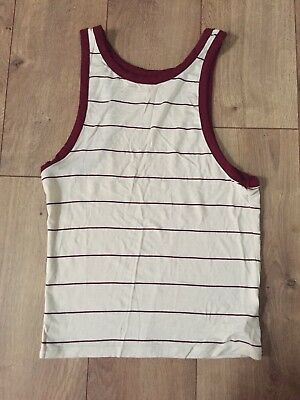 EUC Zine Zumiez Sleeveless Cream/ Burgundy Tank Top Shirt Women's XS