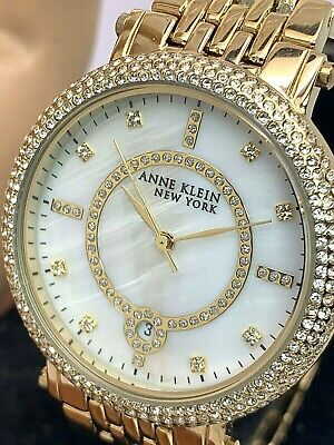 Anne Klein New York Women's Watch 12/2312 Gold Tone Stainless Steel MOP Dial