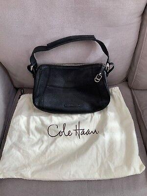 Cole Haan Black Pebbled Leather Shoulder Hobo Bag Satchel Purse W Dust Cover EUC