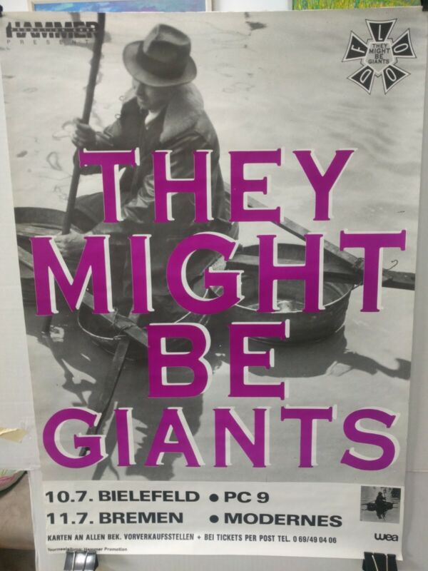They Might Be Giants 1990 German Flood tour poster excellent never used