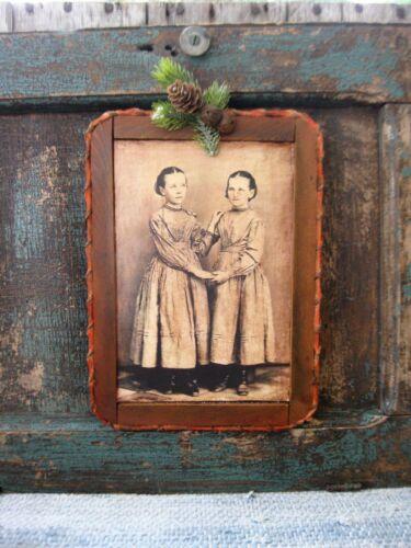 Antique School Slate Chalkboard Old Photo Print Sisters Christmas Pine