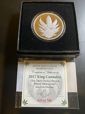 2017 1oz Silver Shield King Cannabis Proof Round w/COA
