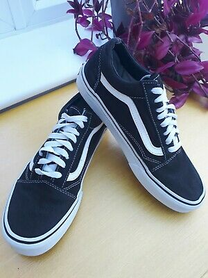 Vans Black And White Old Skool Off The Wall Trainers Sneakers Shoes Size UK 6