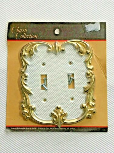 Metal Double Toggle Light Switch Cover. Scroll Ornate decorative wall plate