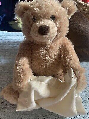Baby Gund Peek-A-Boo Brown Bear Lovey Satin Blanket Talks & Plays Plush Brown