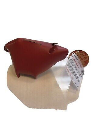 Piggy Bank Red Leather Desk Organizer Office Home By Vacavaliente