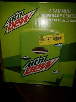 Mountain Dew 6 Can Mini Refrigerator Fridge Beverage Center Car Adapter Mtn Dew
