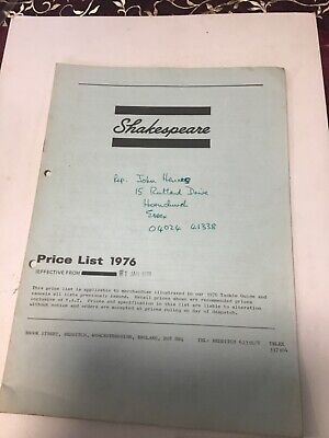 Vintage retro Shakespeare trade price list 1976 fishing tackle guide Catalogue