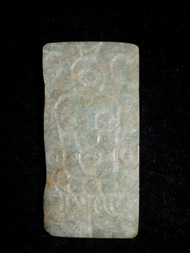 Pre-Columbian Mayan Carved Jade Plaque, Pendant, Authentic