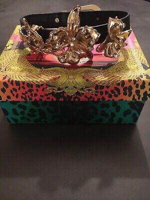 New Designer Versace for H&M Black Leather Choker Necklace Gold Flower Detail
