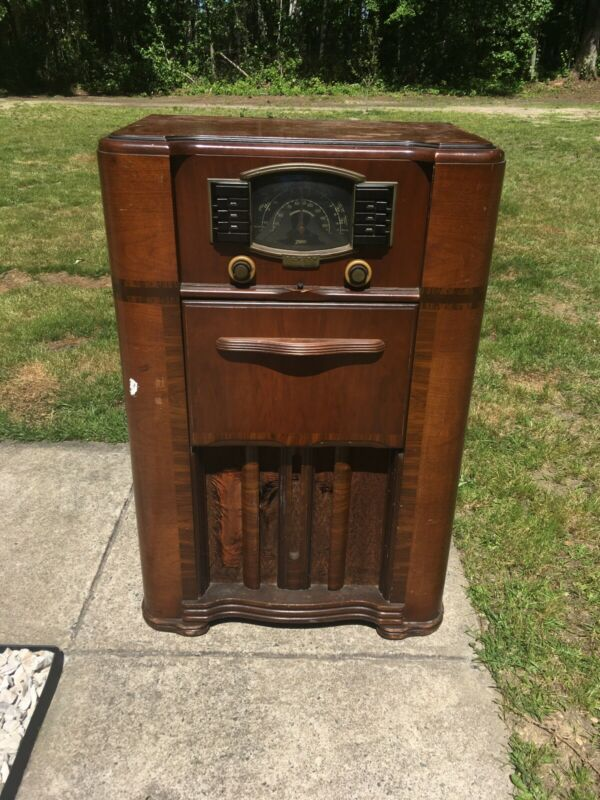 1940's Antique Art Deco Zenith 7S682 AM/Shortwave Console Radio w/ RECORD PLAYER