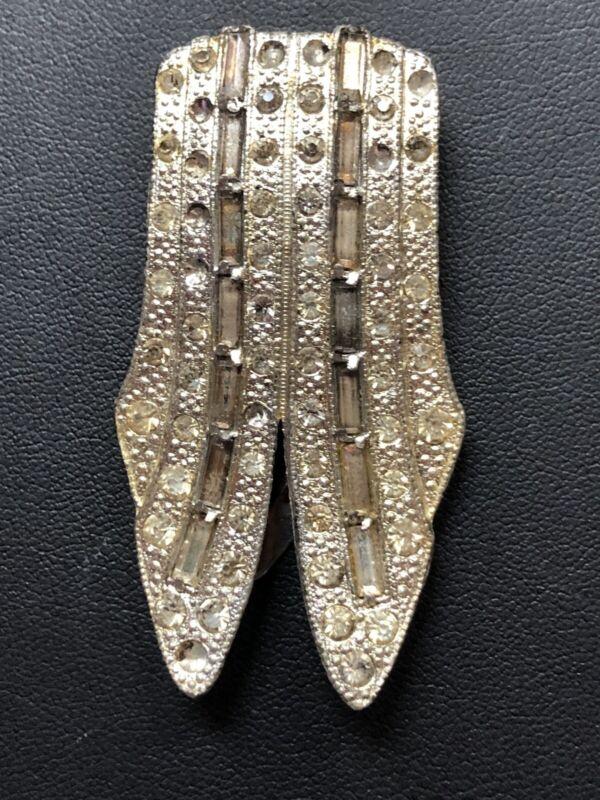 Art Deco Clear Rhinestone Rare Vintage Antique Fur dress Clip