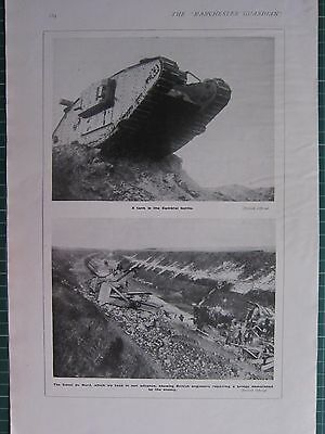 1918 WWI WW1 PRINT ~ TANK IN CAMBRAI BATTLE ~ CANAL DU NORD BRITISH ENGINEERS