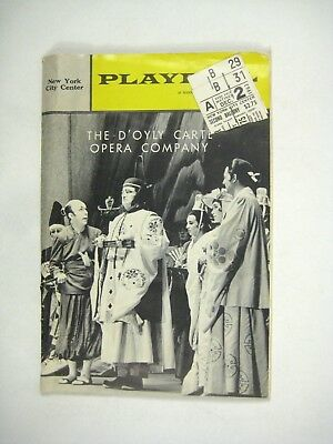 D Oyly Carte Opera Company Playbill 1962 Ticket City Center Gilbert - Party City Gilbert