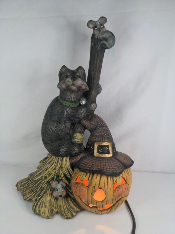Glenview vintage Halloween Lamp Jack O Lantern, Broom, Black Cat Night Light