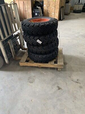 7.5x16 Bobcat Snow Skid Steer Tires Set Of 4 With Rims S740 S750 S770 New 12 Ply