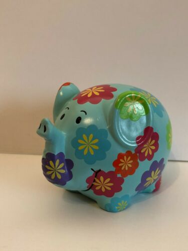 Blue Ceramic Elephant Bank With Flowers by Cupcakes & Cartwheels