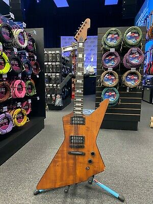Schecter E-1 Koa Electric Guitar - Ebony/Natural Satin - 3050 DAMAGED BODY