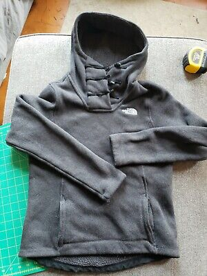 The North Face Womens Hooded Pullover Button Fleece Sweater Black Size small