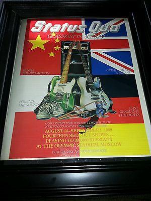 Status Quo Moscow Russia Concert Tour Original Promo Poster Ad Framed!