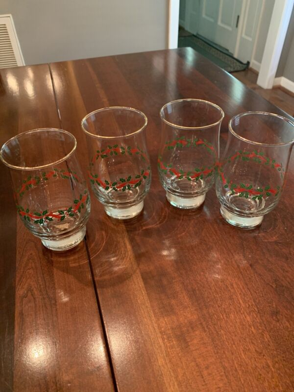 Set of 4 - Libbey Holly and Ribbon Holiday Christmas Drinking Glass Tumblers