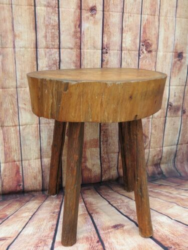 Antique 19th C. Round French Country Primitive Butcher Block Table Farmhouse