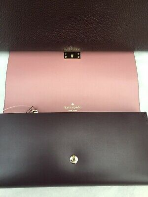 NWT Kate Spade Large Pim Arbour Hill Leather Flap Wallet Mahogany Wine/Port