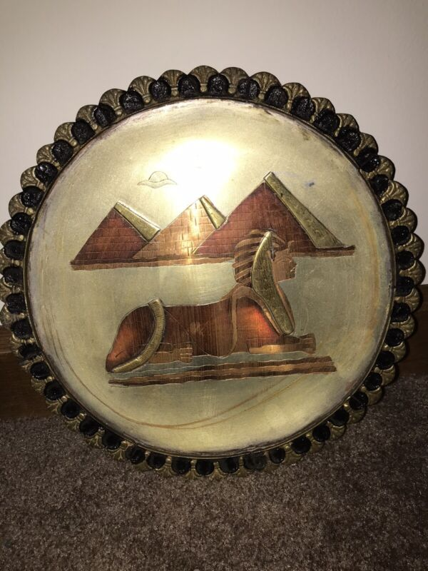 Egypt Wall Hanging Plate Vintage Onnig of Cairo Egyptian Museum Metal Pyramid 10