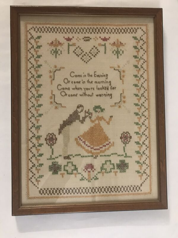 Vintage Handmade Cross Stitch Completed & Framed Needlepoint Crewel Countrycore