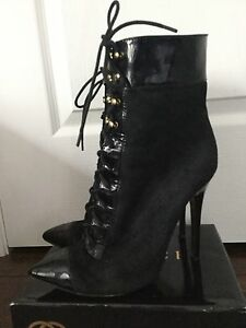 VERSACE for H&M Black Suede and Pleather Ankle Boots sz. 10/40