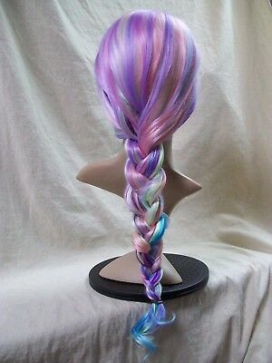 Pastel Rainbow Wig (Long Wavy Pastel Rainbow Costume Wig Unicorn Mermaid Princess Celestia Anime)