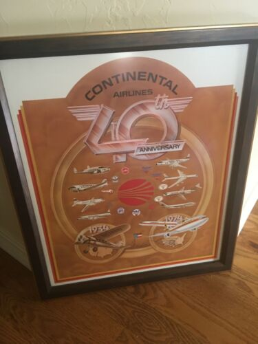 Continental Airlines 1974 40th framed anniversary poster