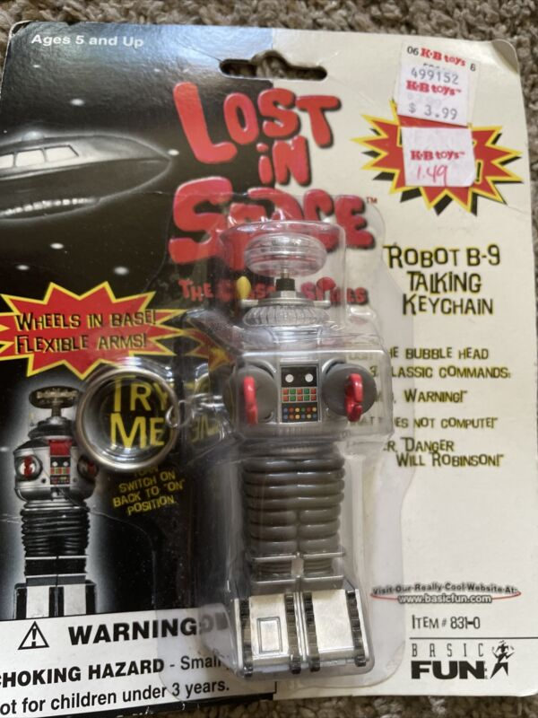 LOST IN SPACE ROBOT B-9 TALKING KEY CHAIN NEW sealed  1997 ( needs batteries )