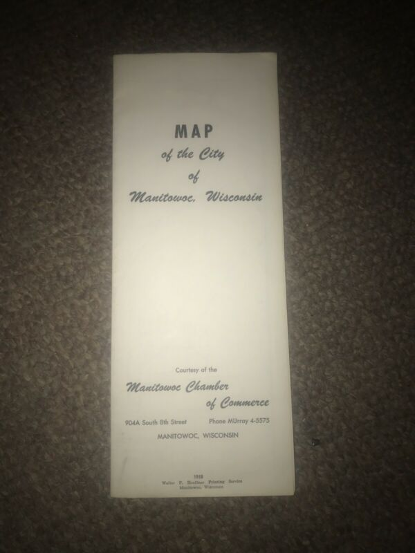Vintage 1958 Manitowac Wisconsin City Map