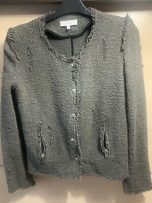 Iro Wondrous Distressed Cotton Blend Boucle Jacket Rrp £320 Size 36