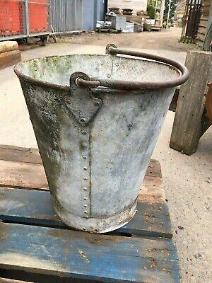 Galvanised Antique Vintage Riveted Bucket Planter Kindling Store