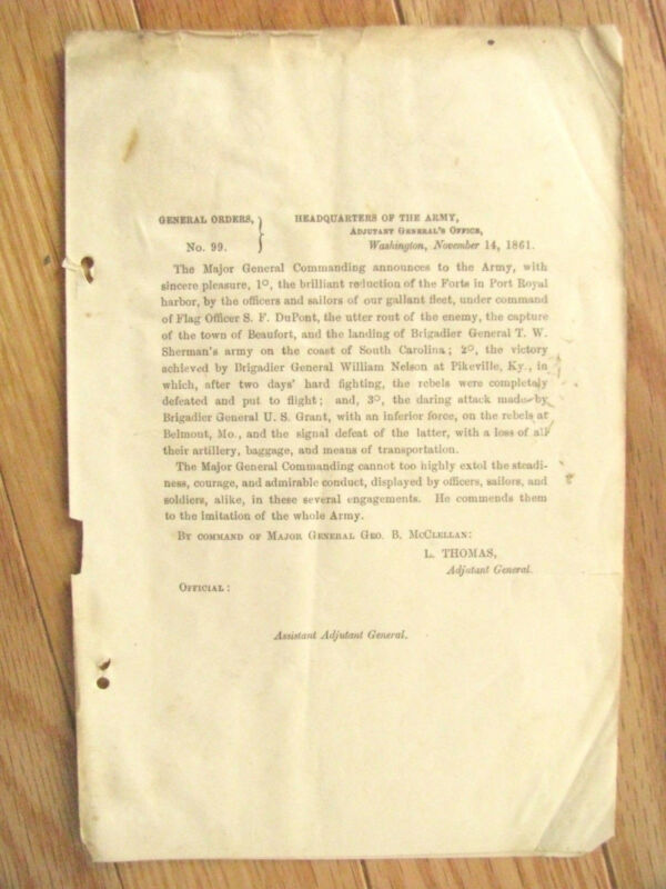 CIVIL WAR US GRANT BELMONT MISSOURI  VICTORY GENERAL ORDER
