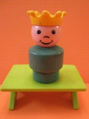 993 Fisher Price Little People Vintage   CASTLE    WOOD BOTTOM   PRINCE