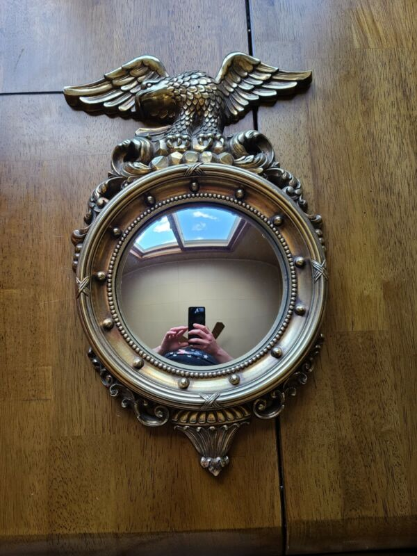 """Vintage Federal Syroco 4410 American Eagle Convex Bubble Gold Mirror 16"""""""