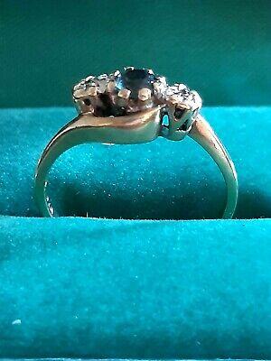 Vintage 9ct Gold, Diamond & Aquamarine Triple Gemstone Ring - Hallmarked. Size O