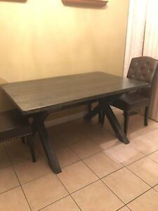 Solid wood dining table + 4 leather chairs + bench