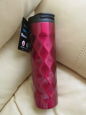 Lifetime Brands Thermal Mug With Diamond Texture Red   18 Fl  Oz  Nwt   Flip Top