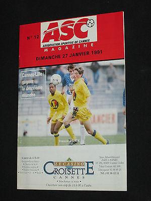 Programma Calcio N° 12 As Cannes - Lille Losc 1991 Coubertin Maglia image