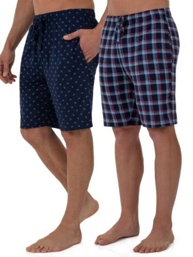 Fruit of the Loom Sleep Lounge Shorts Beyond Soft Knit 2 Pack Blue Men